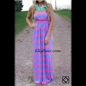 Chevron Strapless Maxi Dress - Filly Flair